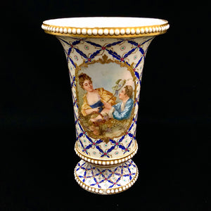 Sevres Style Hand Painted Vase 9""