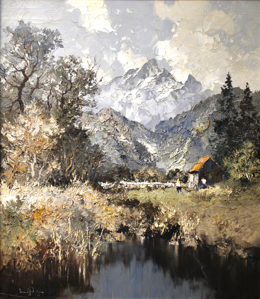 Erich Paulsen - Alpine Cabin - Oil on Canvas
