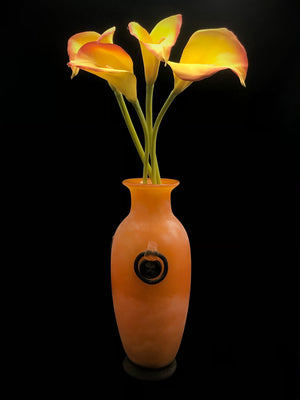 Orange & Black Artglass Vase and Faux Flowers