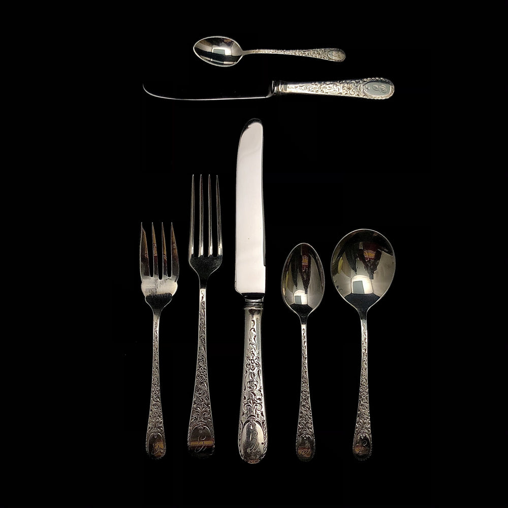 BIRKS Sterling London Engraved Flatware - 8 Place Settings +