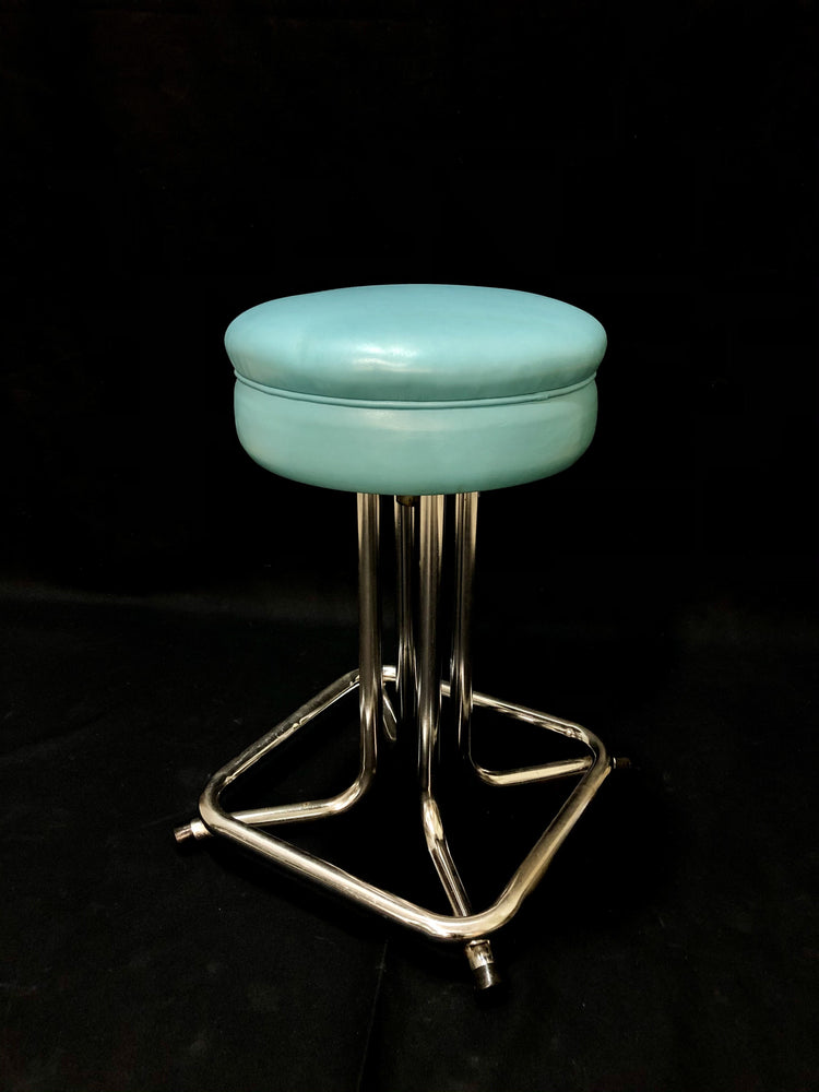 Vintage Chrome Vinyl Stool 22""