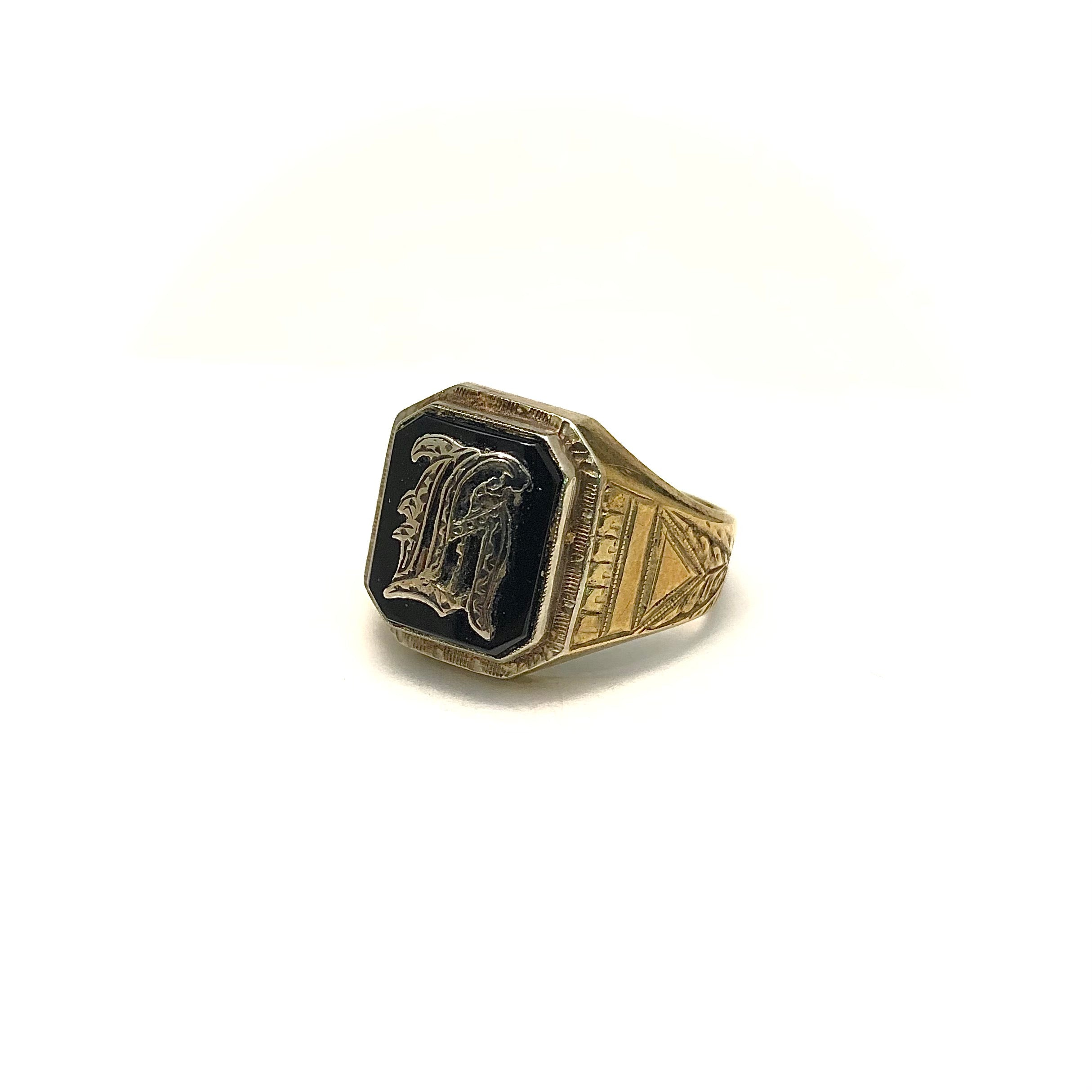 10K & Sterling Silver Onyx Initial Ring