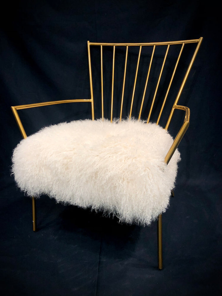 MITCHELL GOLD + BOB WILLIAMS Pair of Ansel Brass & Shearling Chairs