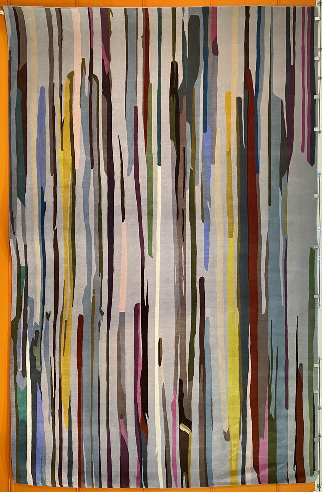 "Load image into Gallery viewer, PAUL SMITH ""Paint Stripe"" Hand Knotted Wool Rug 14x9'"