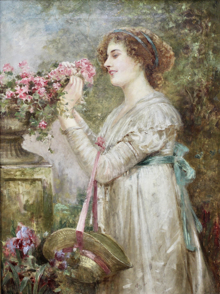 WJ Carroll - Lady In Garden - Oil On Canvas