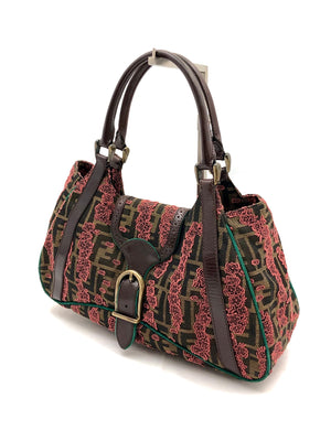 Load image into Gallery viewer, FENDI Zucca Embroiderd Floral Shoulder Bag