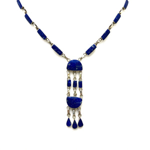 Load image into Gallery viewer, 950 Silver Lapis Lazuli Drop Necklace