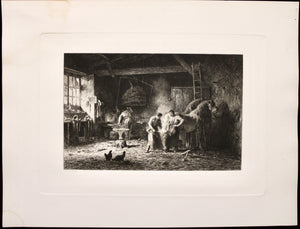 Charles Jacque - Blacksmith Shop - Etching