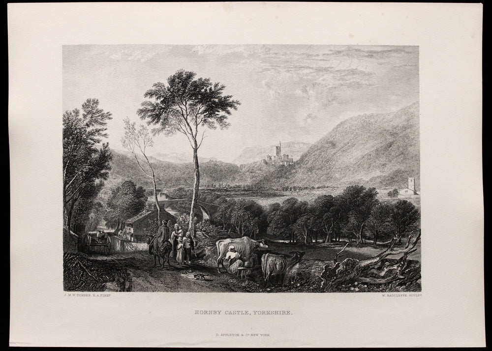 "Load image into Gallery viewer, JMW Turner-  ""Hornby Castle, Yorkshire"" - Etching"
