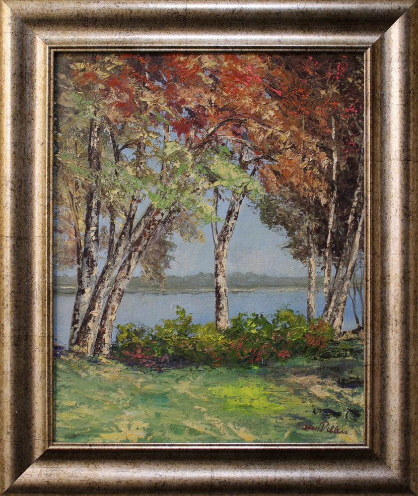 Jean Pelleu - Birch Trees & Lake - Oil On Canvas Board