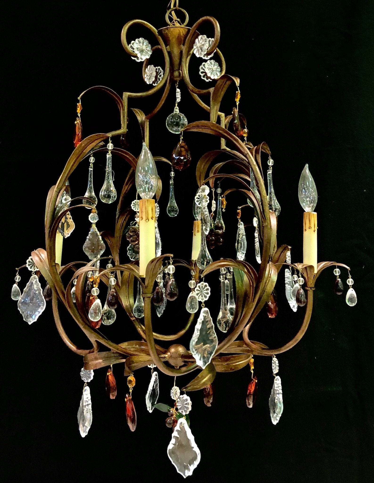 'Gold' Patinated Steel & Coloured Crystal 4 Arm Chandelier