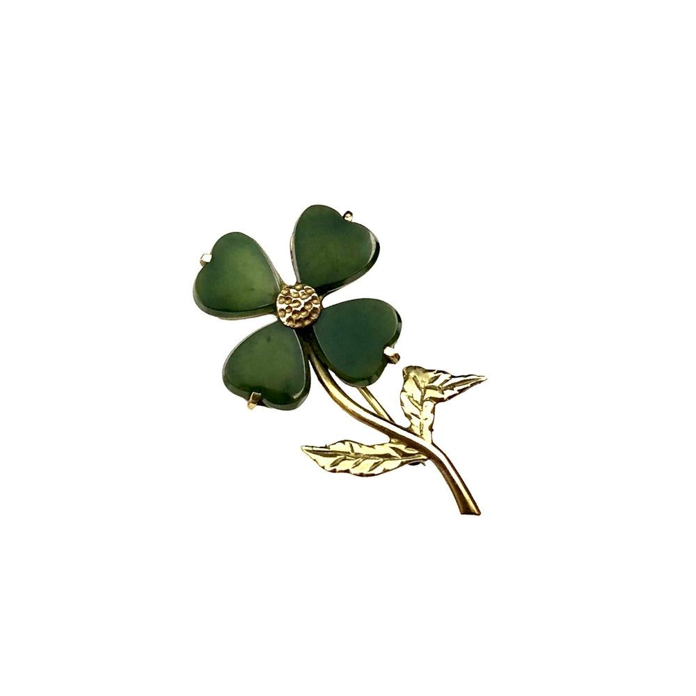 10K Nephrite Four Leaf Clover Pin