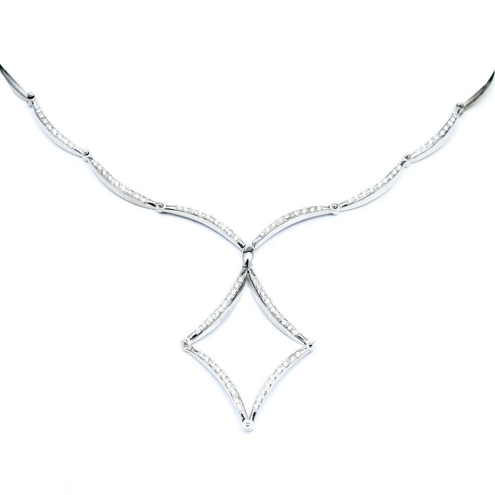 18K White Gold Diamond Articulating Necklace