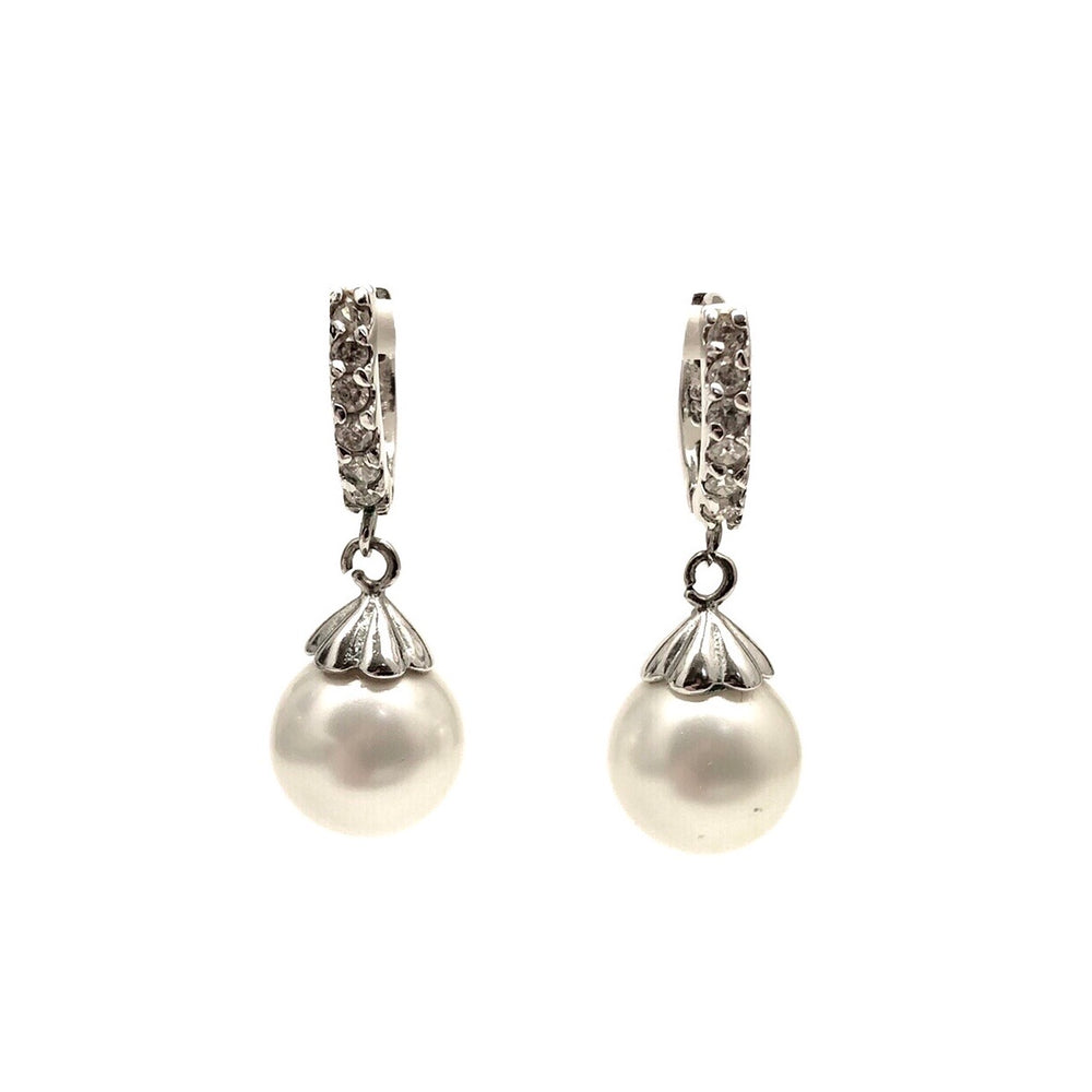 Load image into Gallery viewer, Sterling Silver Faux Pearl Cubic Zirconia Drop Earrings