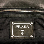 PRADA Leather & Nylon Pushlock Flap Bag - Black
