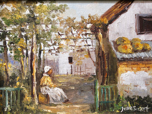 Jane Tucket - Seated Figure in a Garden - Oil on Canvas