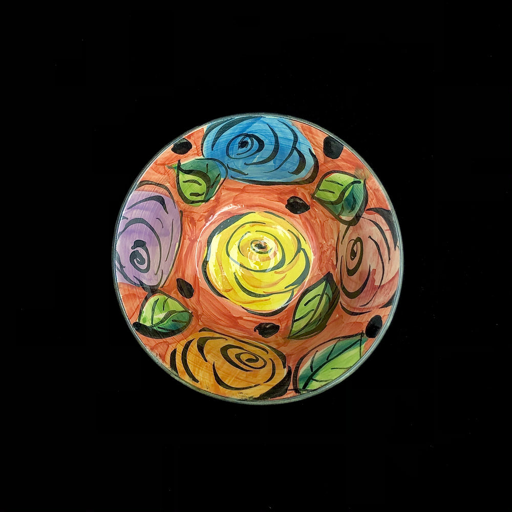"YOUNG Hand Painted Pottery Bowls 6"" - 3"