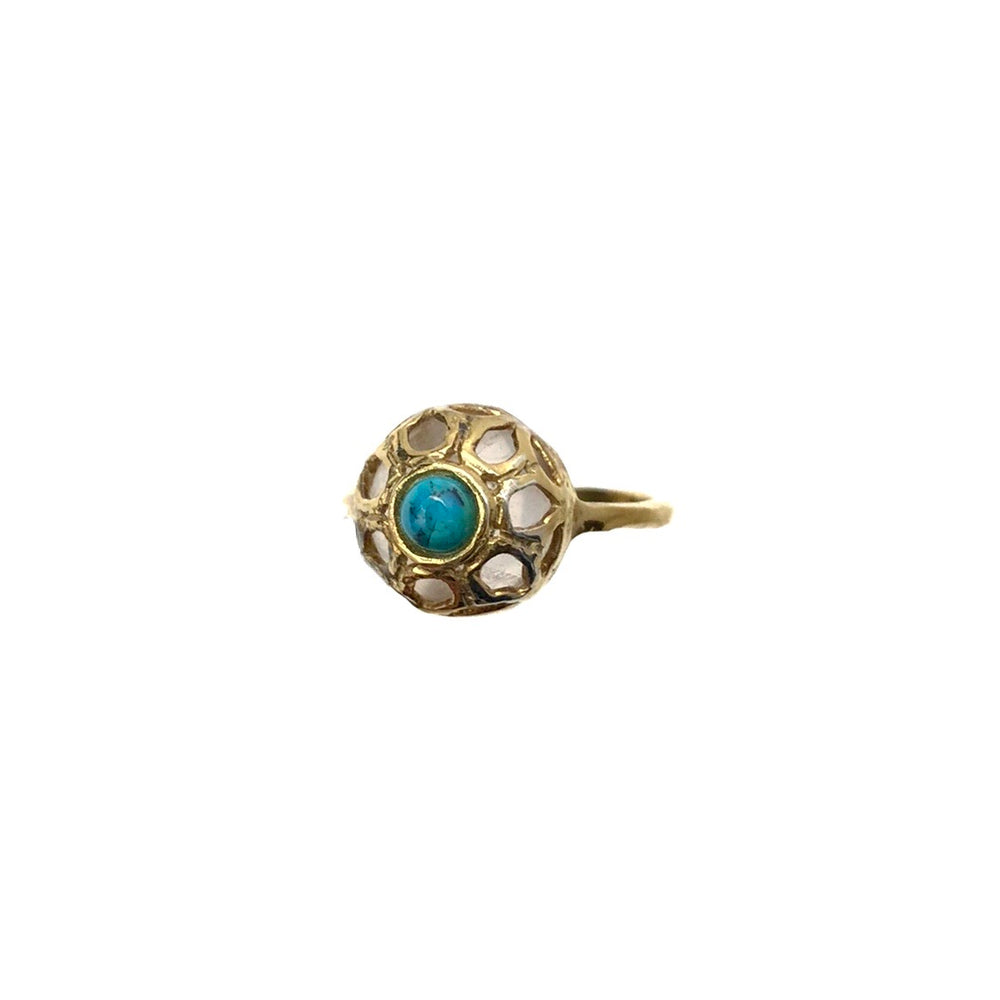 Load image into Gallery viewer, MILOR Sterling Silver Vermeil Turquoise & Quartz Ring