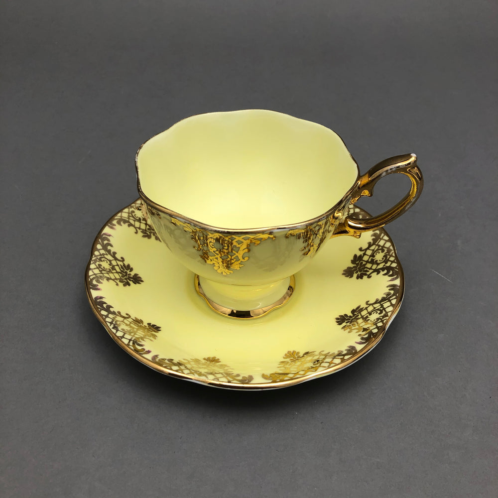 ROYAL ALBERT CROWN Cup & Saucer - Yellow & Gold