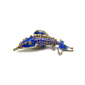 Load image into Gallery viewer, Blue Cloisonne Articulating Fish Pendant