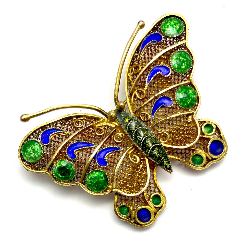 Chinese Export Green Blue Enamel Butterfly Brooch