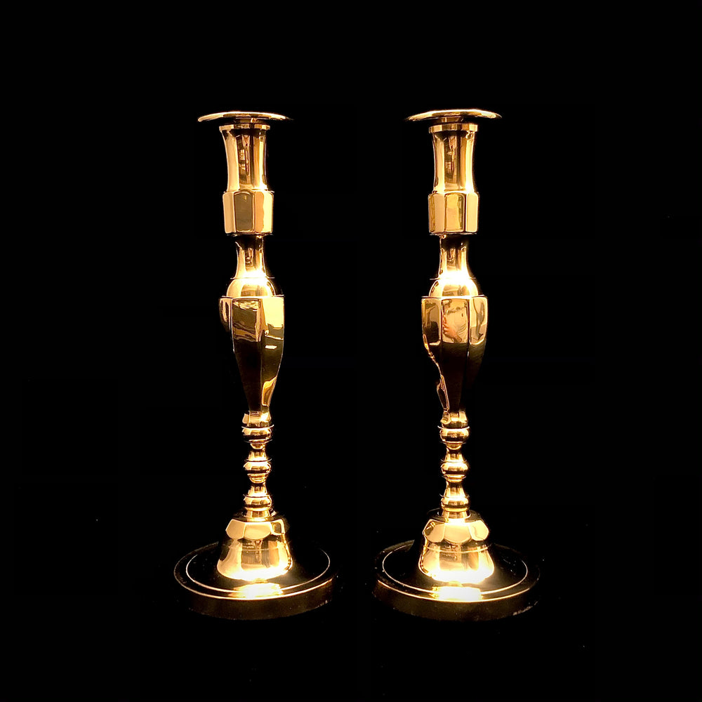 Load image into Gallery viewer, Pair of Brass-plate Candlesticks