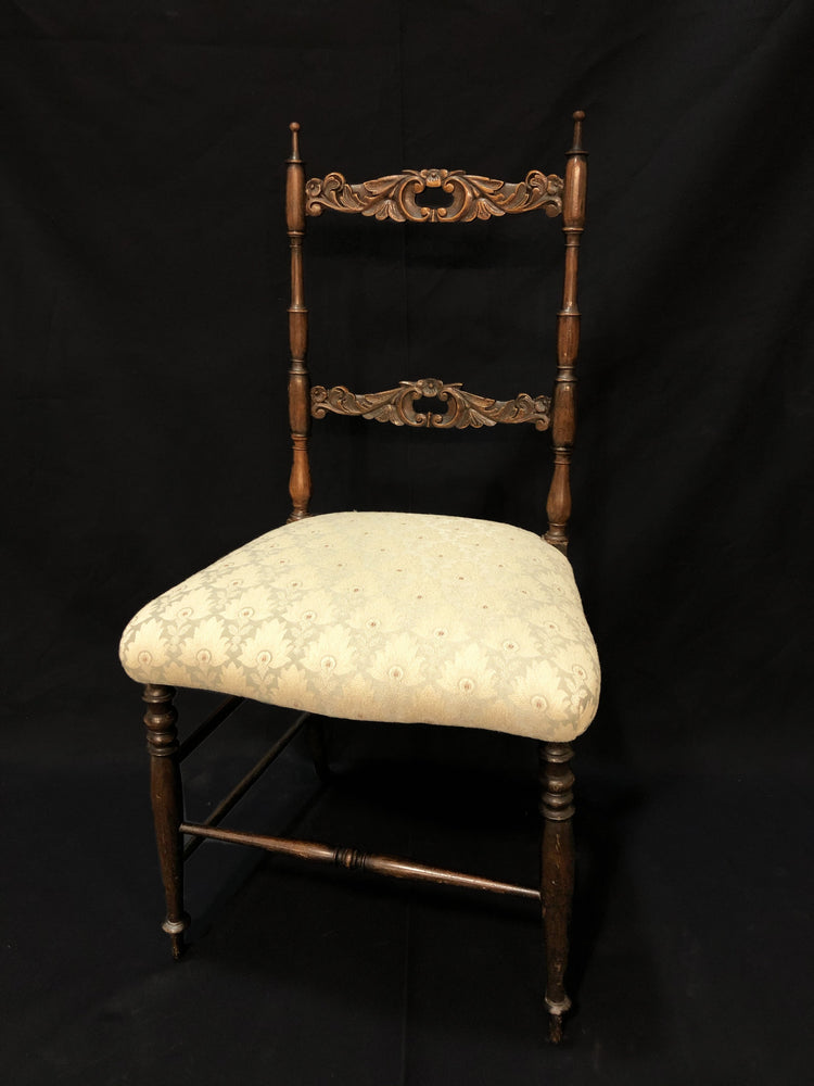 Small Carved Chair Teal/White