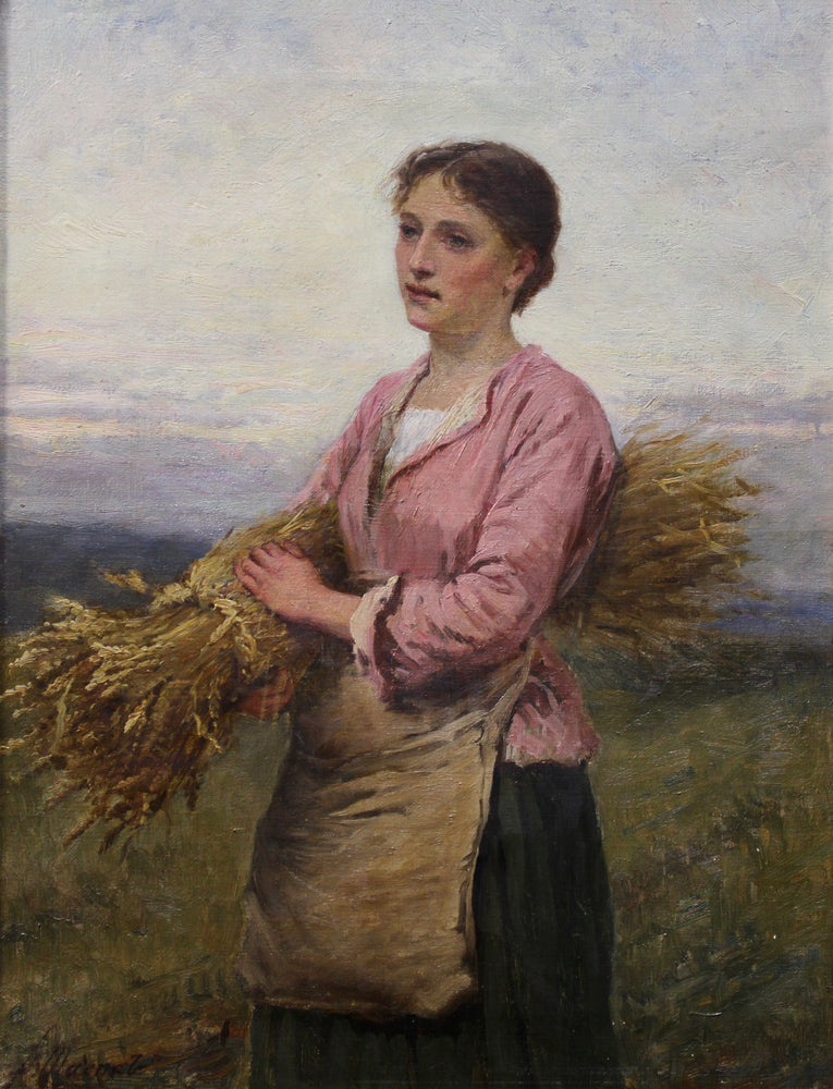 Peter Macnab - Lady Picking Wheat - Oil On Canvas