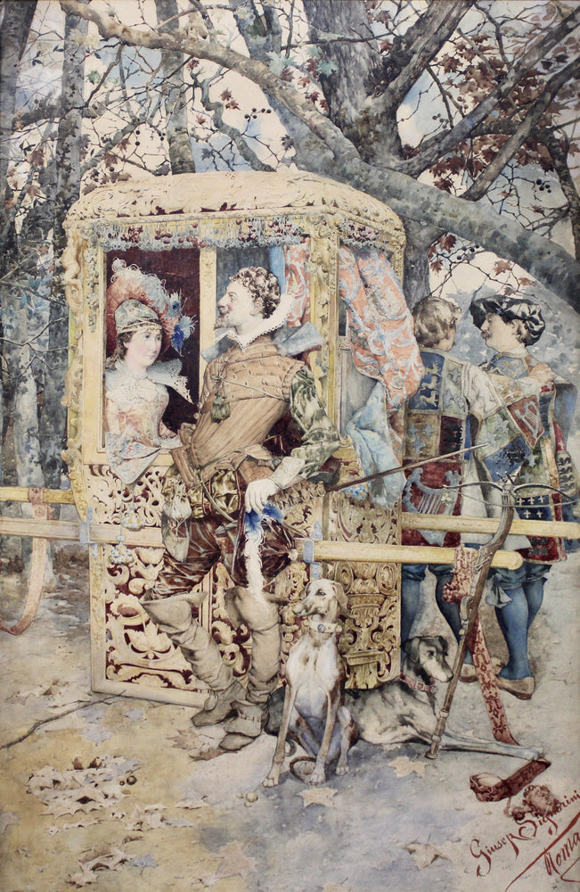 Giuseppe Signorini - Lady in Sedan Chair - Watercolour