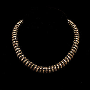 MIRIAM HASKELL Black & Clear Rhinestone Collar Necklace