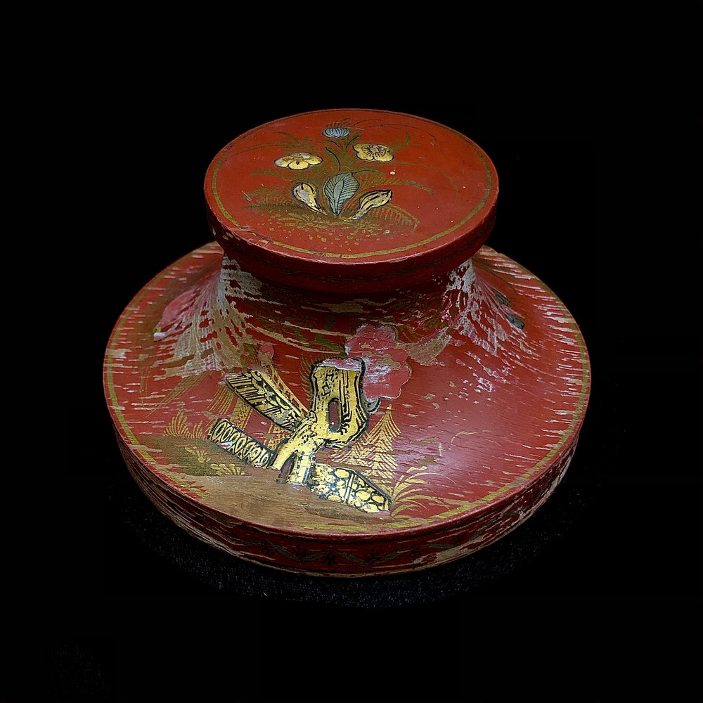 Chinese Red Lacquer Inkwell