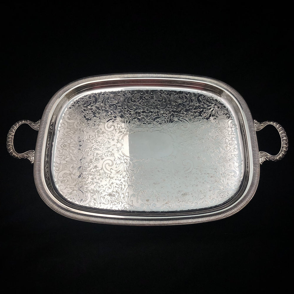 ROGERS Silverplate Footed Tray