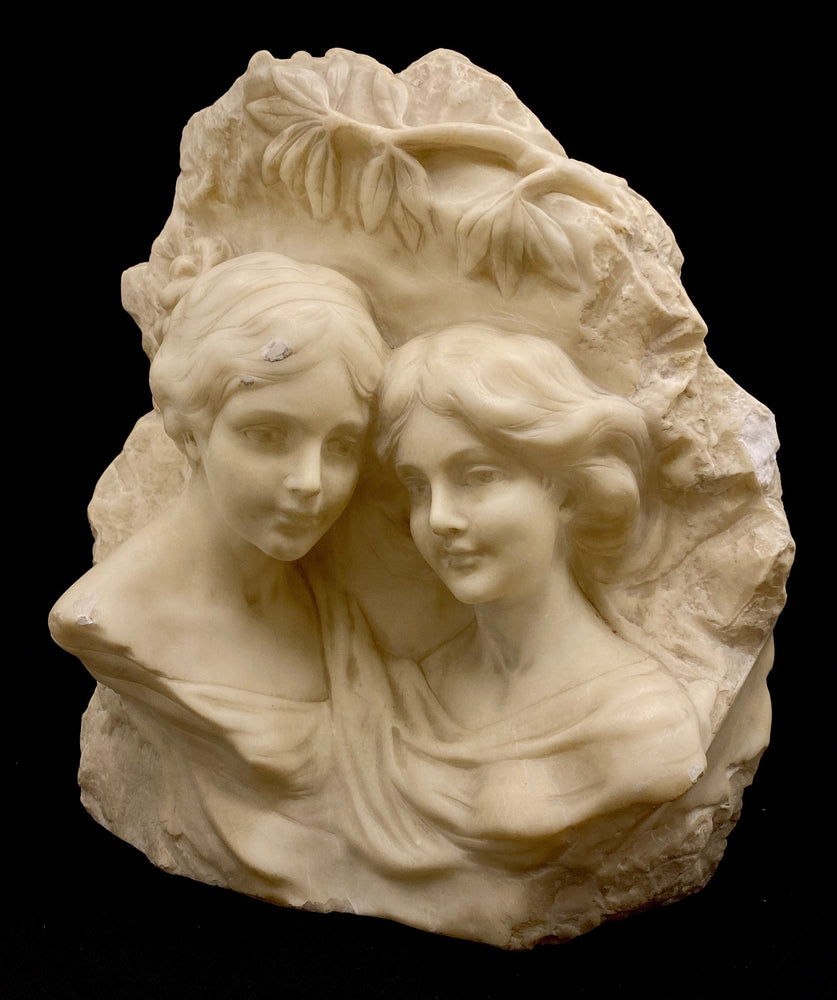 Unsigned - Alabaster Sculpture of Two Women