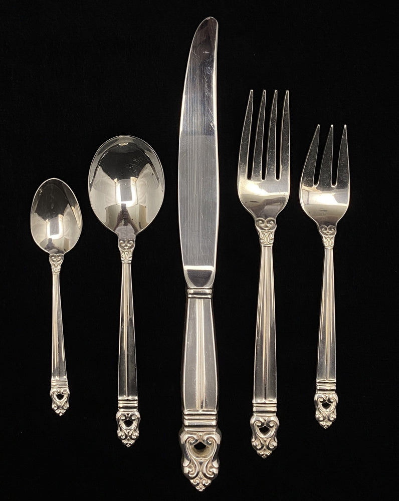 INTERNATIONAL Silver Royal Danish Flatware - 12 Place Settings +