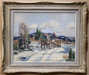 Load image into Gallery viewer, Shirley - Winter Horse Drawn Sleigh Landscape - Oil on Canvas