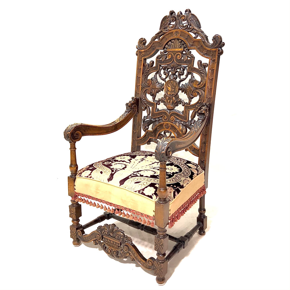 Carved Mahogany Throne Chair