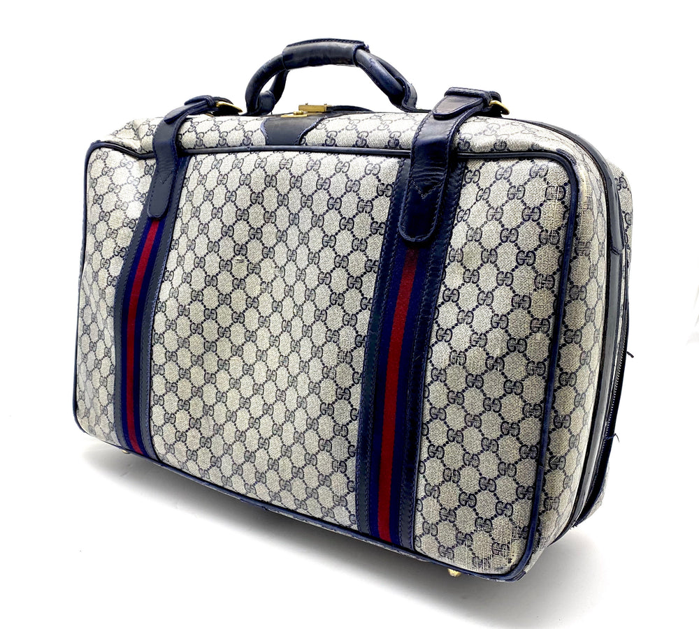 GUCCI Vintage GG Plus Blue Suitcase