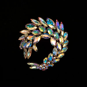 Load image into Gallery viewer, SHERMAN Aurora Borealis Marquise Rhinestone Brooch