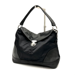 Load image into Gallery viewer, PRADA Leather & Nylon Pushlock Flap Bag - Black