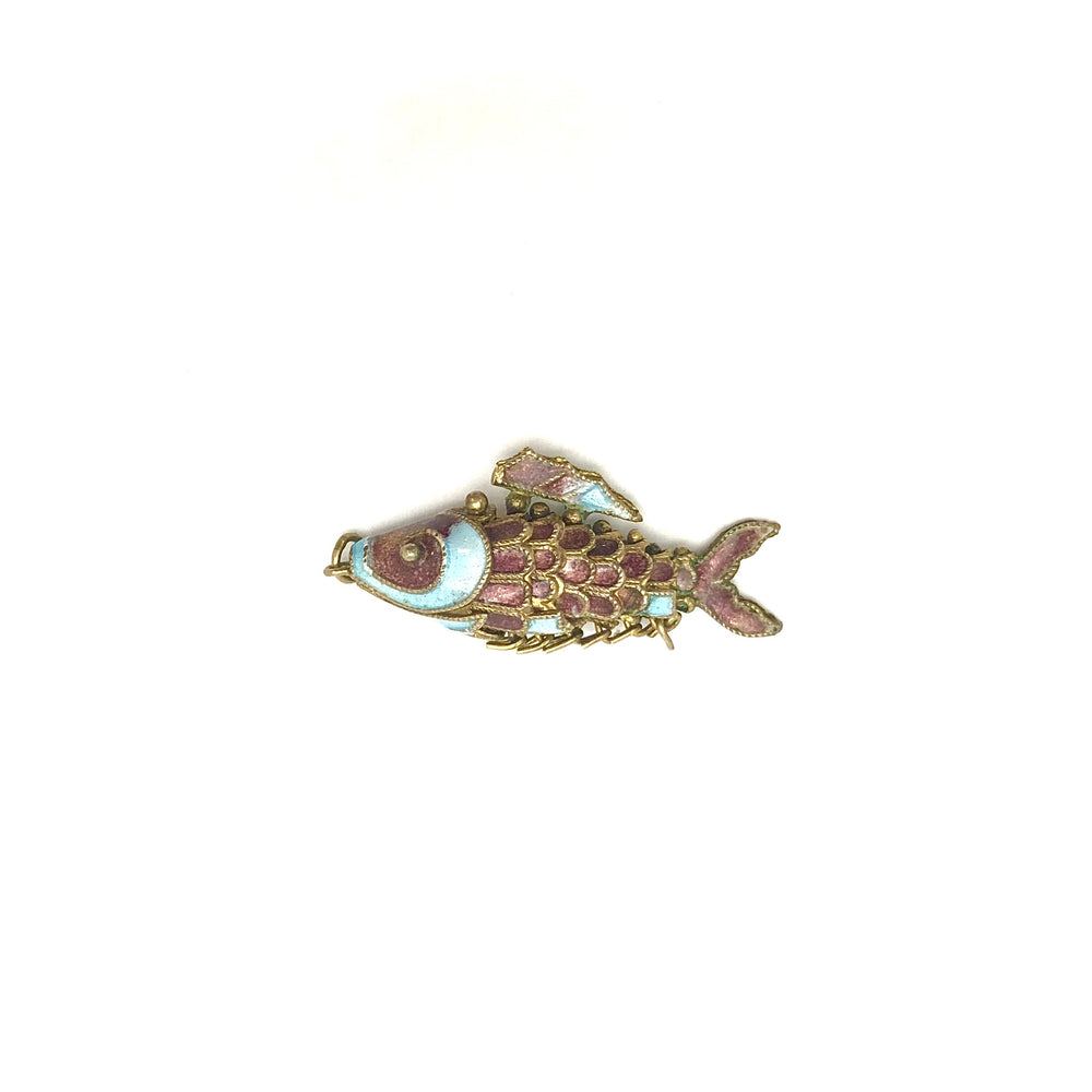 Load image into Gallery viewer, Purple Cloisonne Articulating Fish Pendant