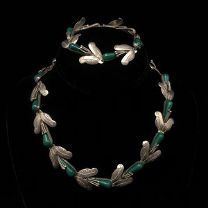 Load image into Gallery viewer, F. PICHARDO TAXCO Sterling Silver Green Onyx Necklace & Bracelet