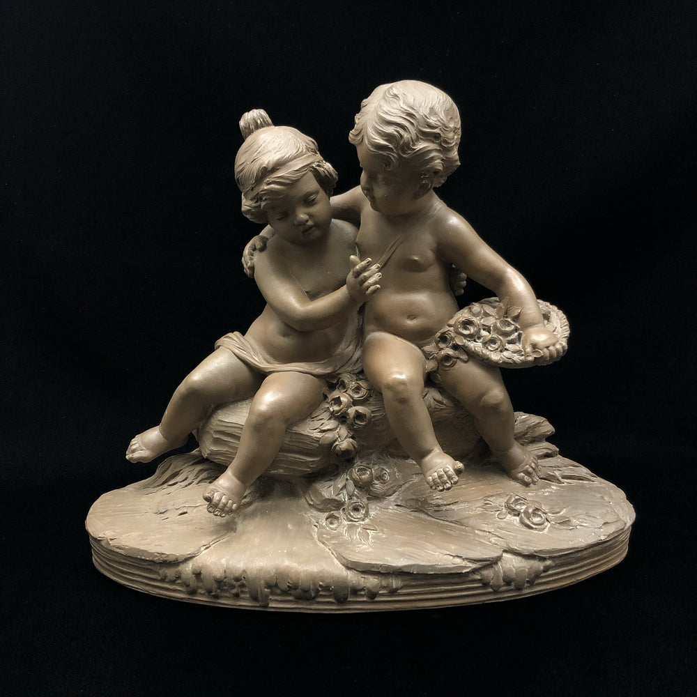 R. Rod - Terracotta Figural Group of Putti with Flowers