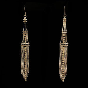 Load image into Gallery viewer, Silver Colour Rhinestone Mesh Drop Earrings