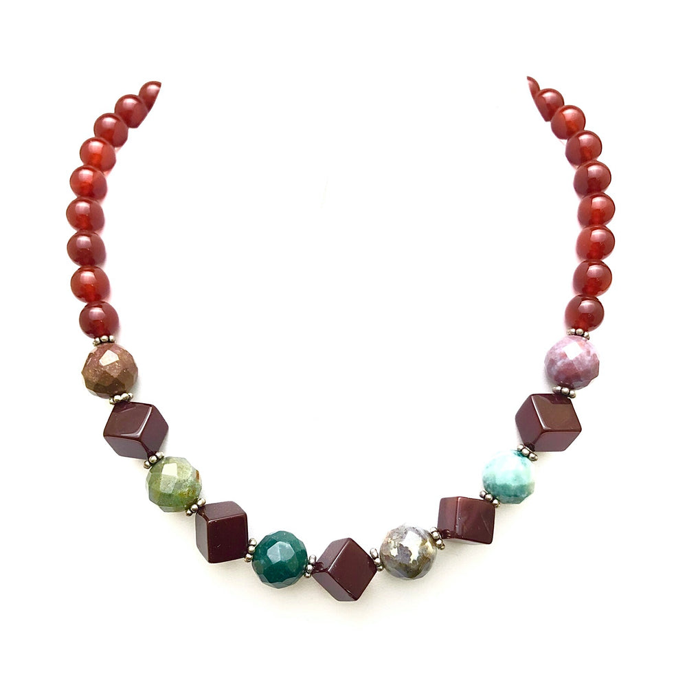 Load image into Gallery viewer, Carnelian Moss Agate Bead Necklace