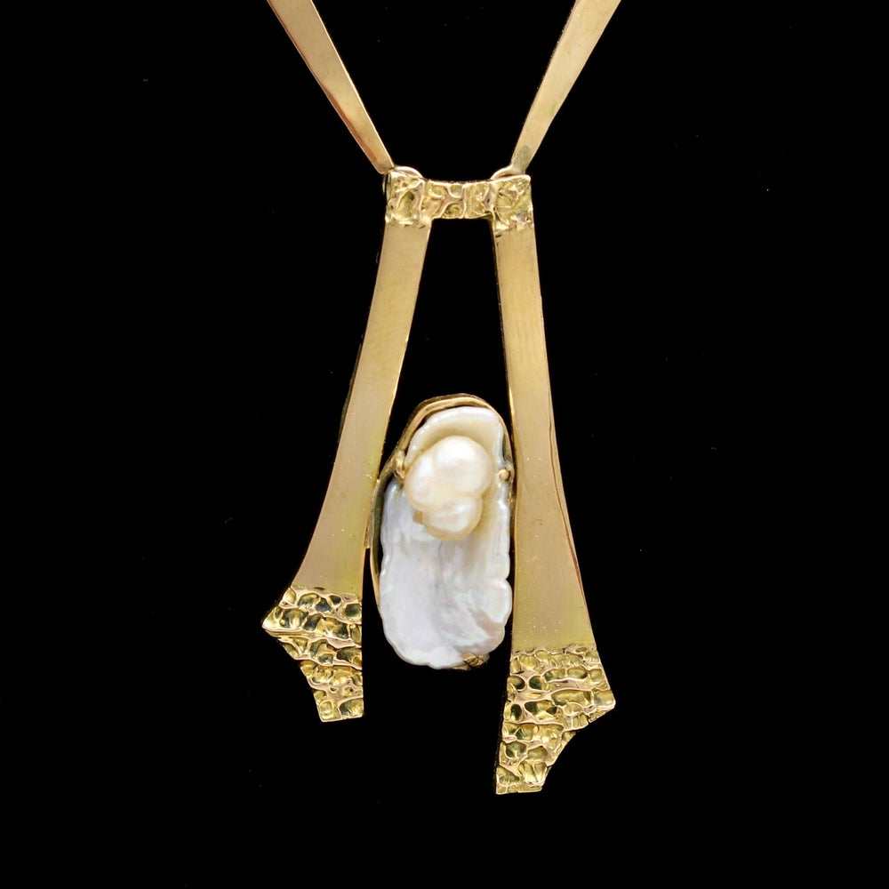 14K Dog Tooth Pearl Brutalist Necklace