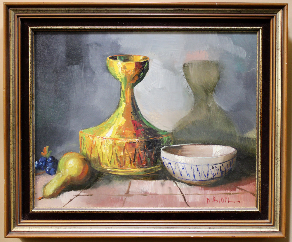 D. Blom - Still Life of Decanter and Fruit - Oil on Canvas