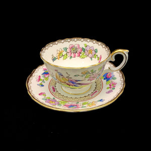 CROWN STAFFORDSHIRE Cup and Saucer - Pheasant and Flowers