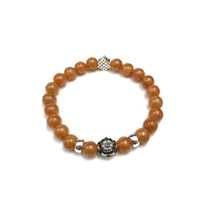 Orange Jade Bead Bracelet with Flower Charm