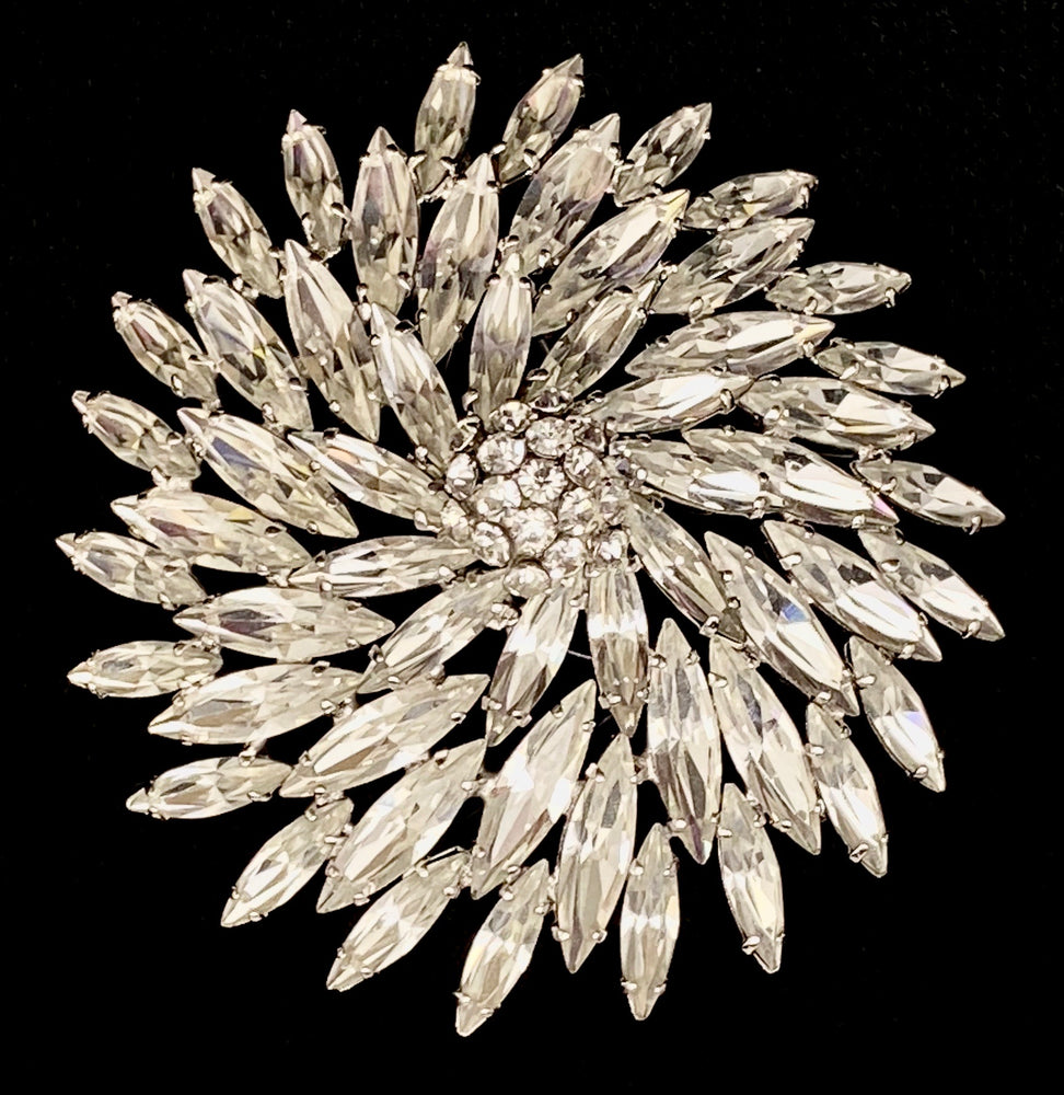 Load image into Gallery viewer, SHERMAN Clear Marquis Rhinestone Pinwheel Brooch