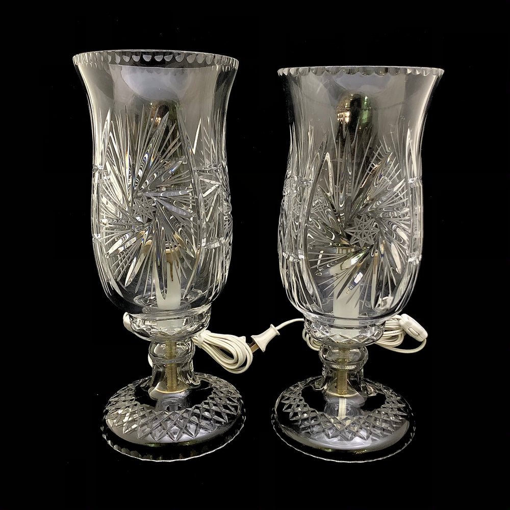 Pair of Crystal Hurricane Lamps